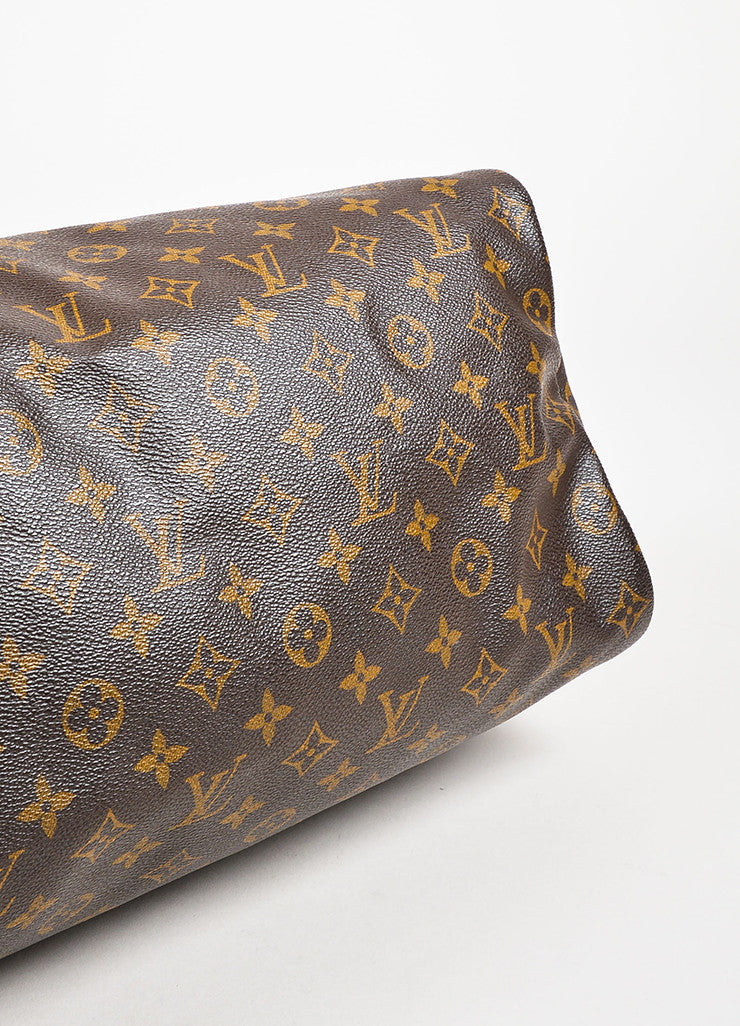 "Louis Vuitton Brown and Tan Coated Canvas Leather Monogram ""Speedy 35"" Bag Bottom View"