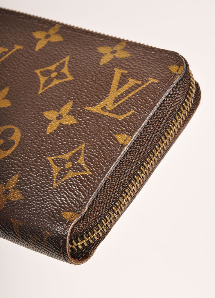 Louis Vuitton Brown and Tan Coated Canvas Monogram Rectangular Zip Wallet Detail