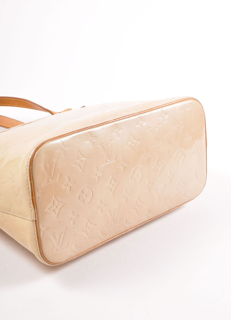 "Louis Vuitton Cream Monogram Vernis ""Houston"" Tote Bag Bottom View"