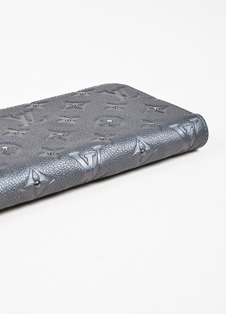 "Louis Vuitton Grey Monogram Empreinte Leather Studded Monogram ""Zippy"" Wallet Bottom View"