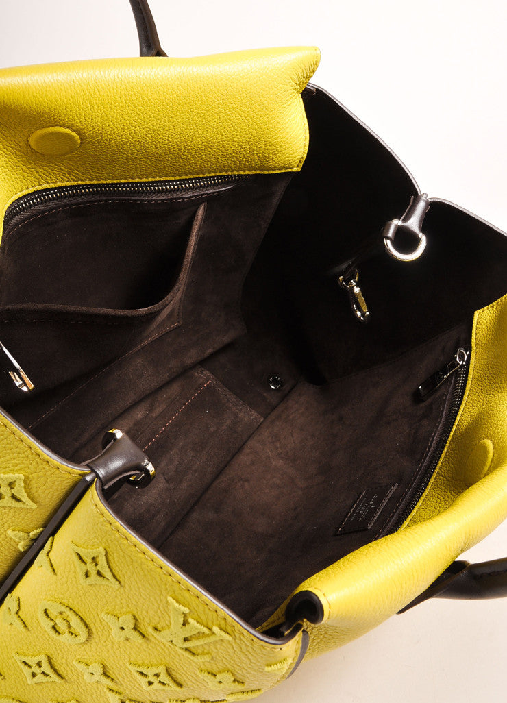 "Louis Vuitton NWT $4600 Yellow ""Pistache"" Tuffetage Parnasse Leather ""W"" PM Bag Interior View"