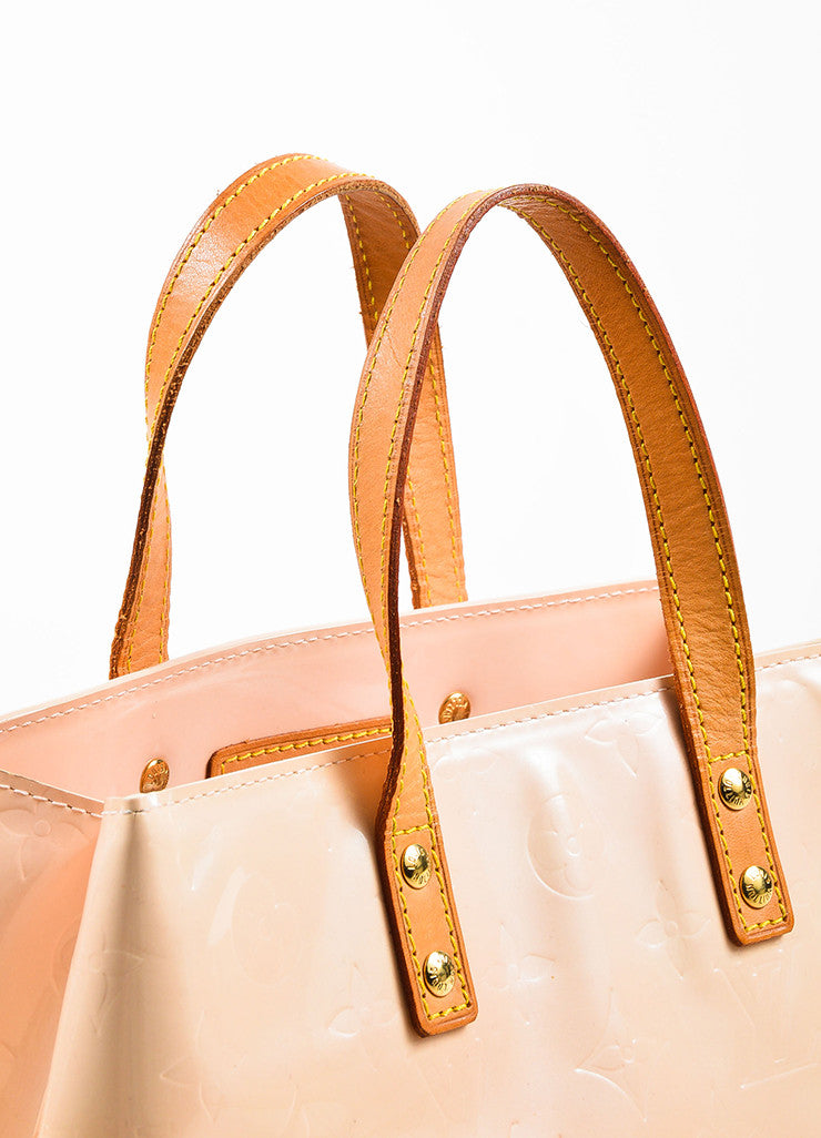 "Peach ""Marshmallow"" Louis Vuitton Vernis Leather ""Reade PM"" Tote Bag Detail 3"
