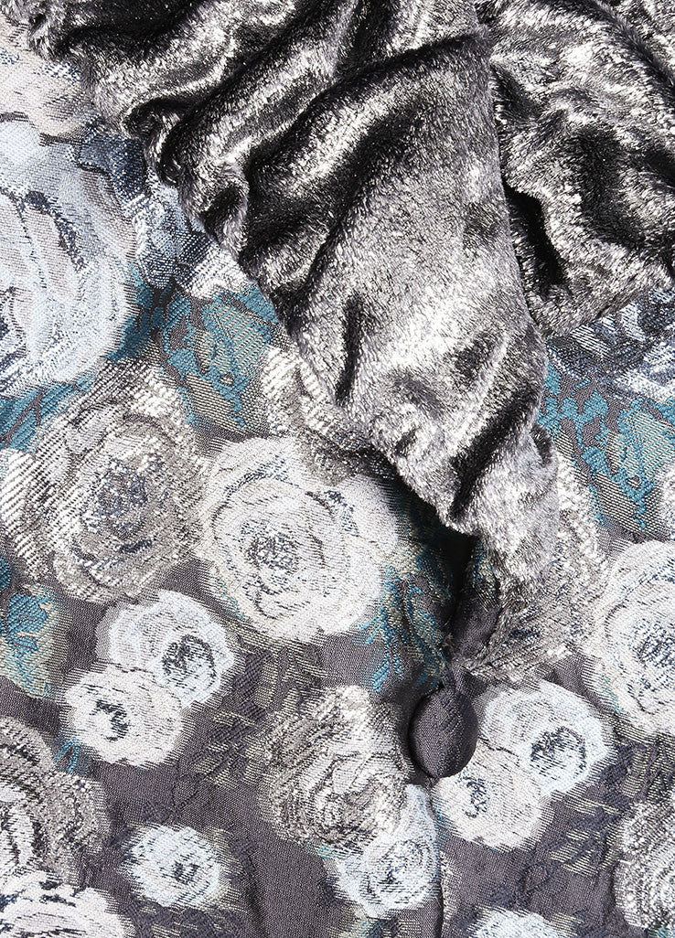 Luisa Beccaria Grey, Silver, and White Floral Embroidered Textured Trim Coat Detail