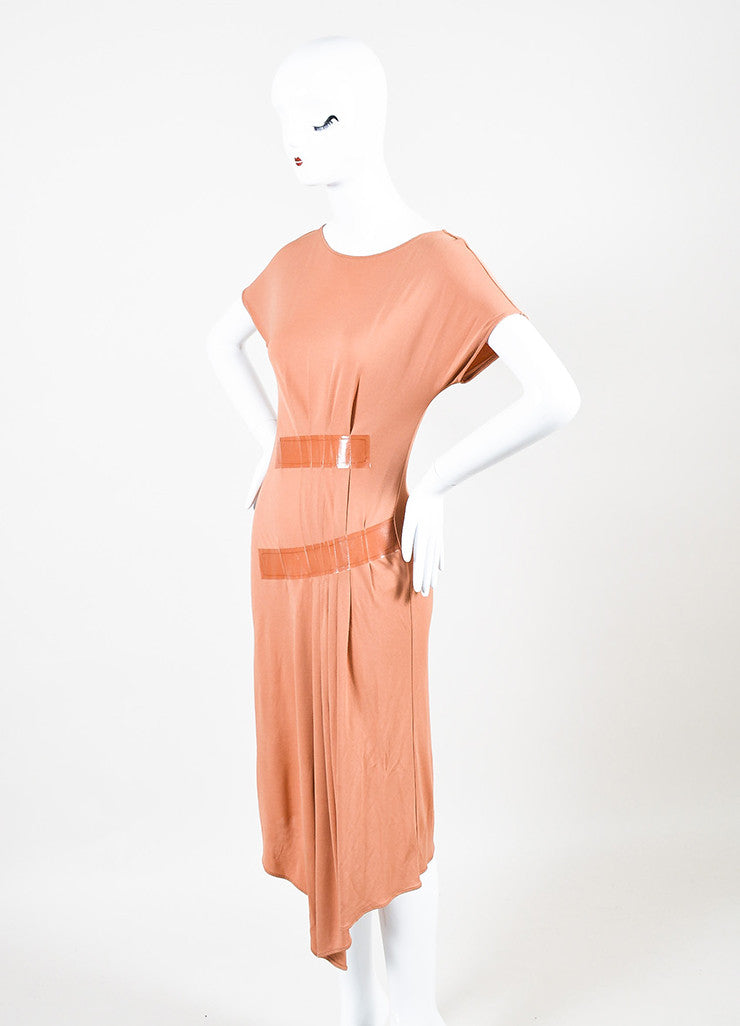 Maison Martin Margiela Coral Short Sleeve Pleated Detail Dress Sideview