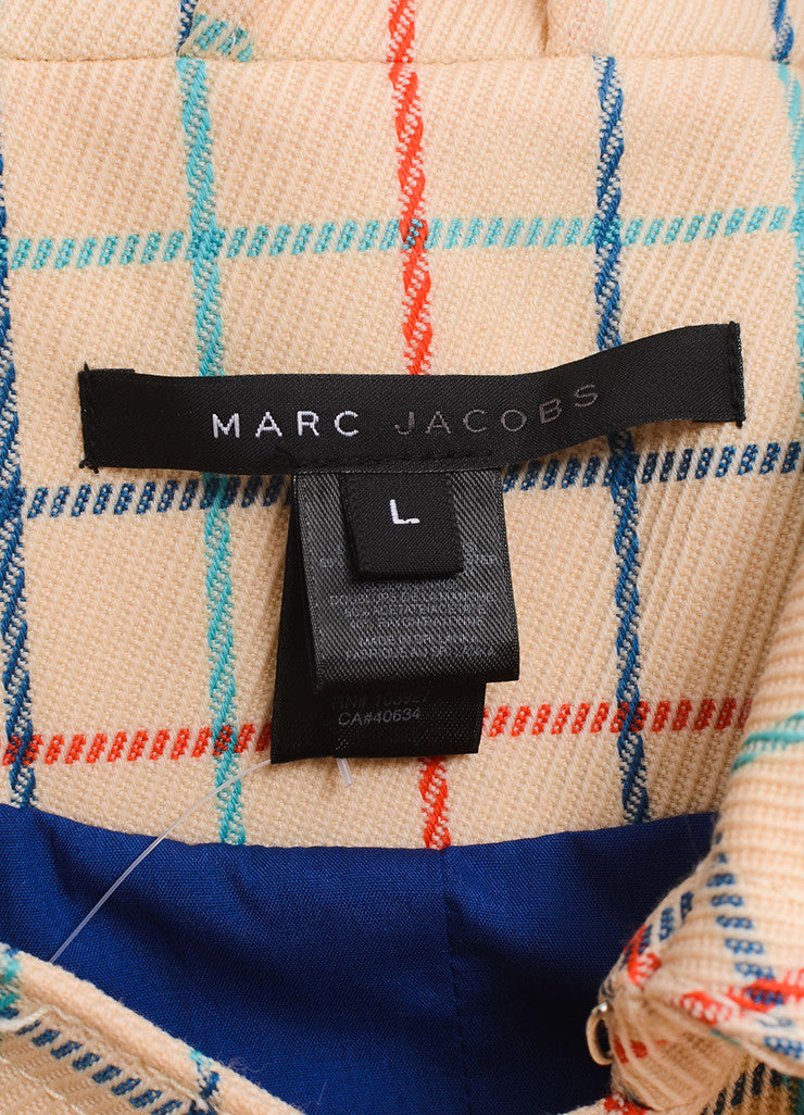 Marc Jacobs Cream, Red, and Blue Check Long Coat Brand