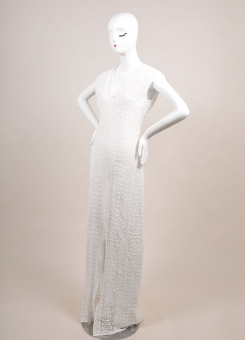 Miguelina New With Tags White and Violet Lace Maxi Dress Sideview