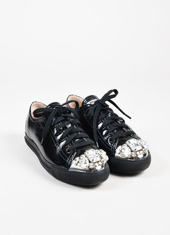 Miu Miu Black Patent Leather Swarovski Crystal Cap Toe Sneakers Front