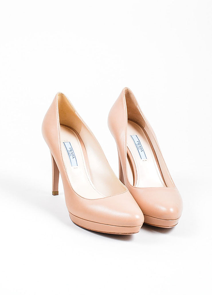 Nude Beige Prada Leather Almond Toe Stiletto Pumps Frontview