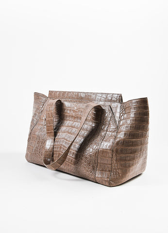 """Nut"" Taupe Nancy Gonzalez Crocodile Leather East West Tote Bag Back"