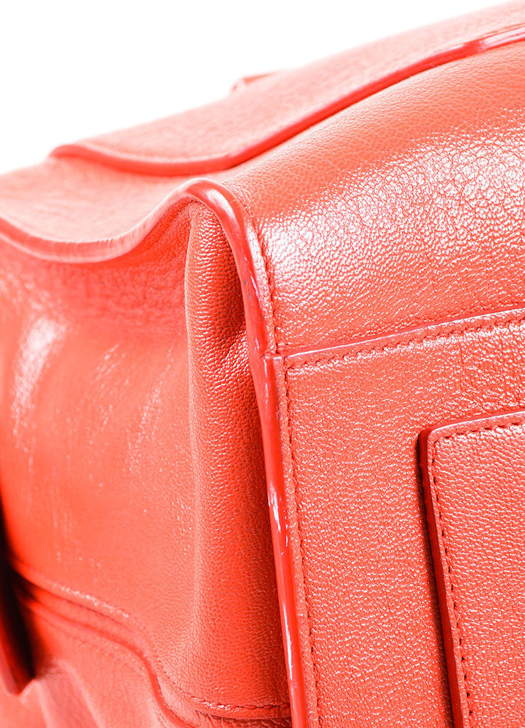 Red Leather Narciso Rodriguez Medium Bowler Tote Bag Detail