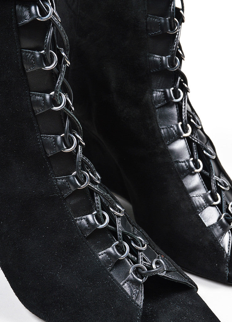 "Black Narciso Rodriguez Suede Lace Up Peep Toe ""Deva"" Wedge Boots Detail"