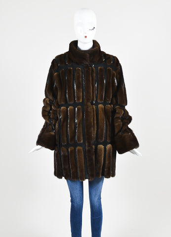 Neiman Marcus Brown and Black Mink Fur and Suede Snakeskin Trim Coat Frontview 2