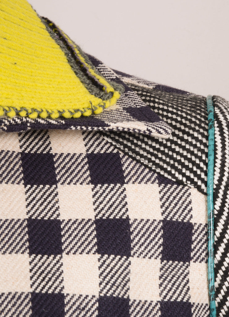 Opening Cermony Tan, Black, and Neon Lime Checkered Colorblock Bomber Jacket Detail