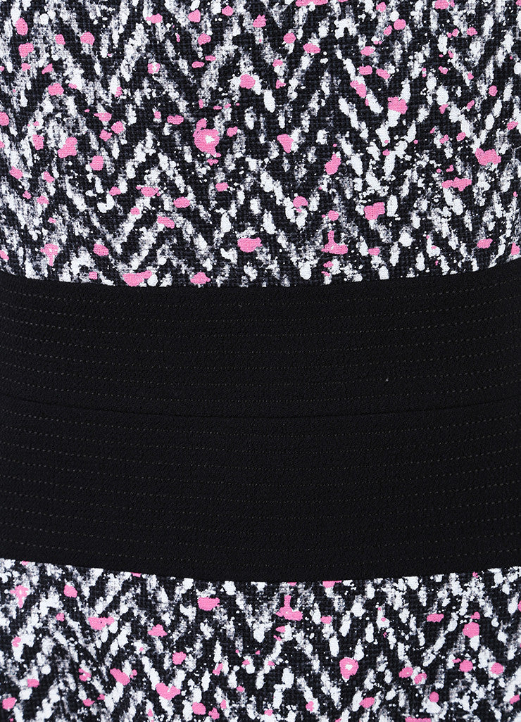 Oscar de la Renta New With Tags Black, White, and Pink Chevron Splatter Print Dress Detail