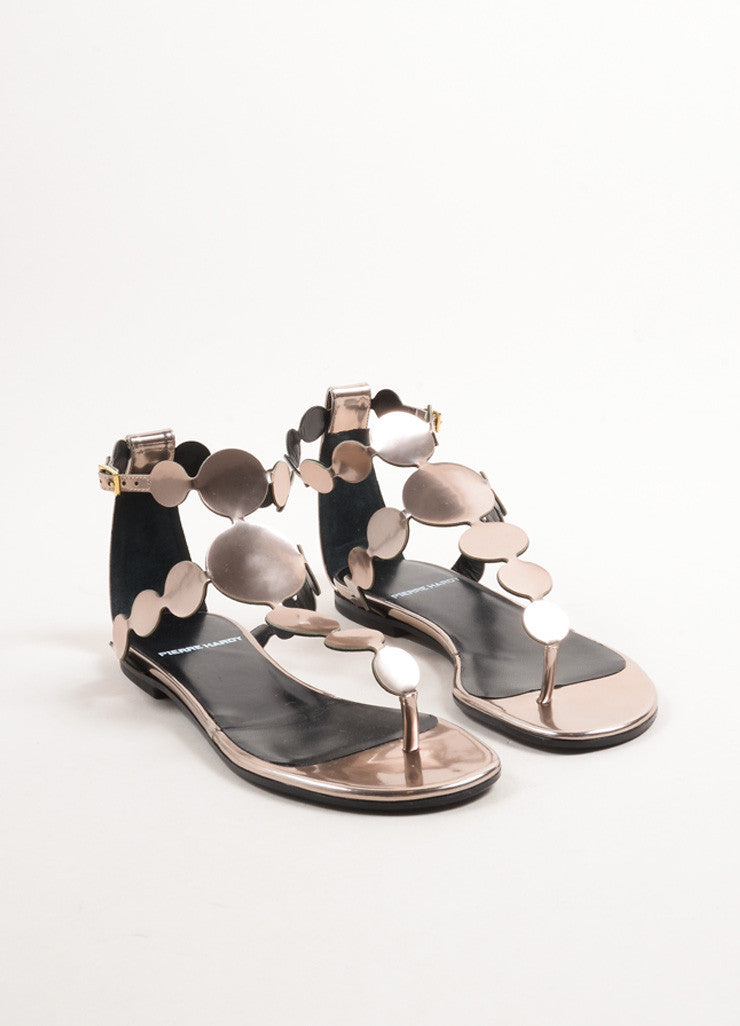 Pierre Hardy Champagne Calf Leather Metallic Circle Flat Sandals Frontview