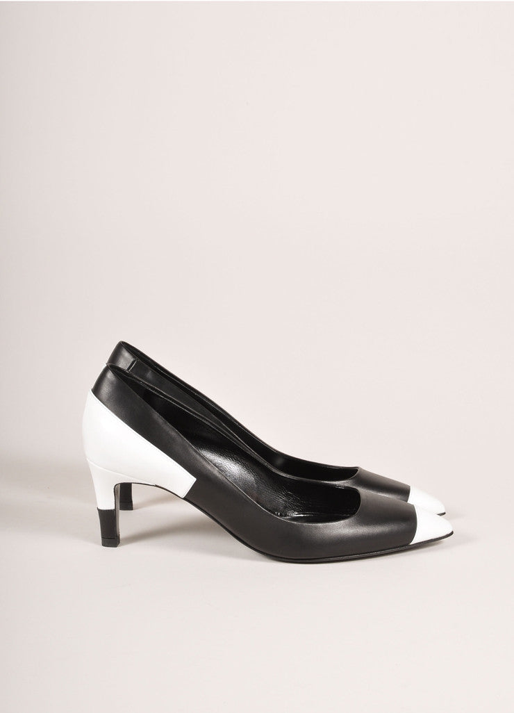 Pierre Hardy New In Box Black and White Leather Colorblock Pointed Toe Heels Sideview