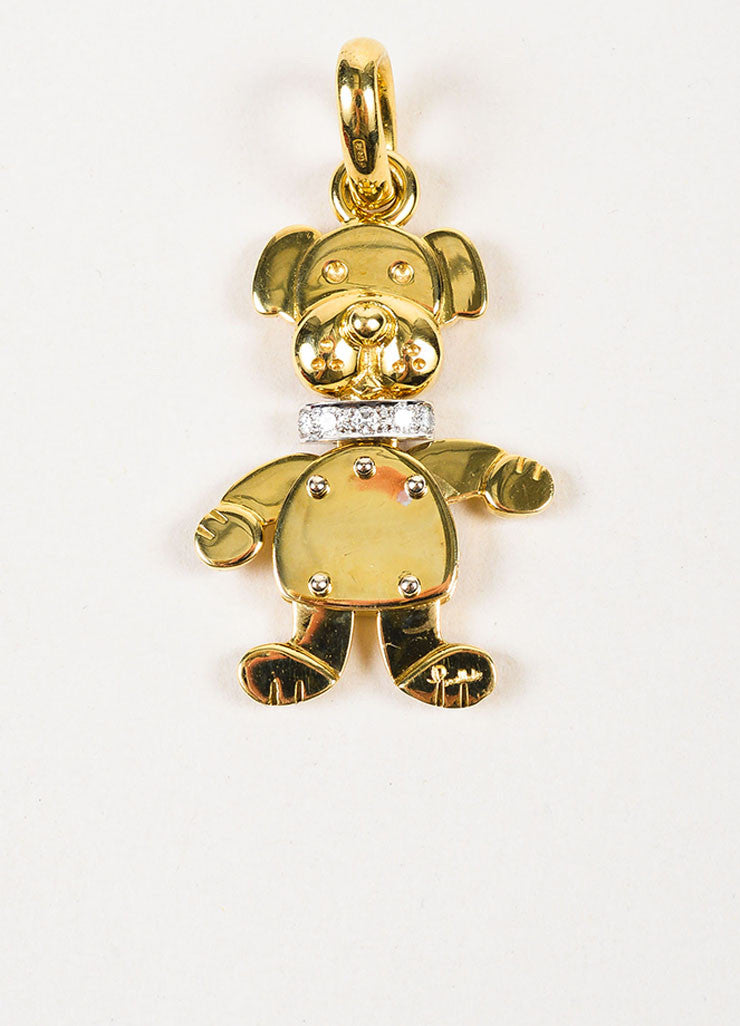 Pomellato 18K Yellow Gold and Diamonds Animated Dog Pendant Charm Frontview