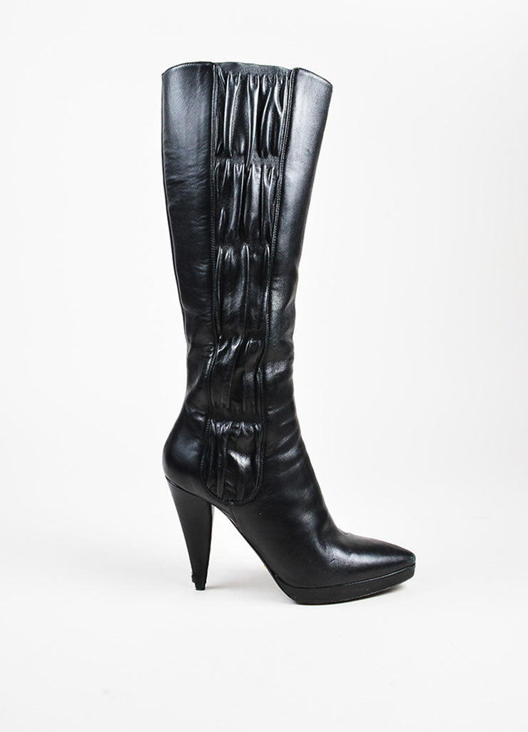 Prada Black Leather Ruched Panel Pointed Toe Cone Heel Boots Sideview