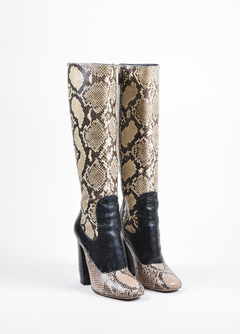 Beige, Black, and Pink Prada Python Curved Heel Side Zip Tall Boots Frontview