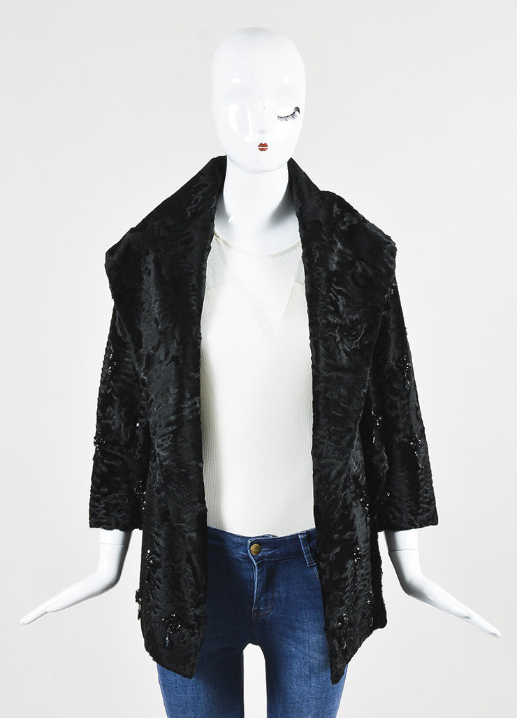 Prada Black Lamb Fur Embellished Shawl Lapel Evening Jacket Frontview
