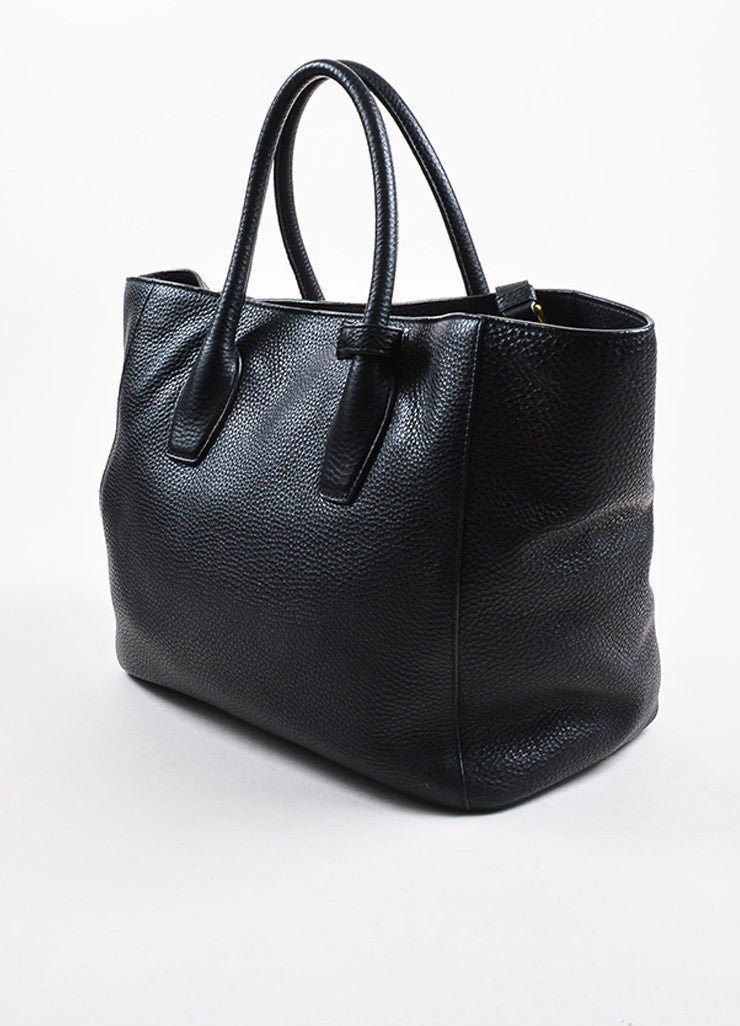 Prada Black Pebble Leather Large Tote Bag Sideview
