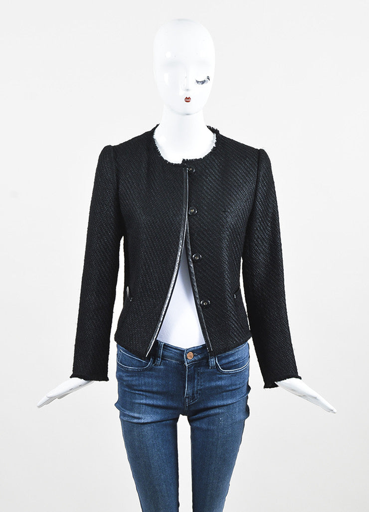 Prada Black Wool Woven Knit Leather Trim Fringe Blazer Jacket Frontview