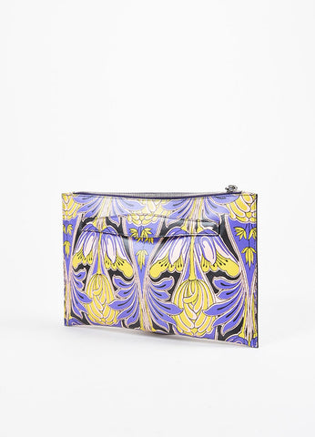 Prada Purple, Pink, and Green Saffiano Leather Floral Print Hand Strap Clutch Bag Backview
