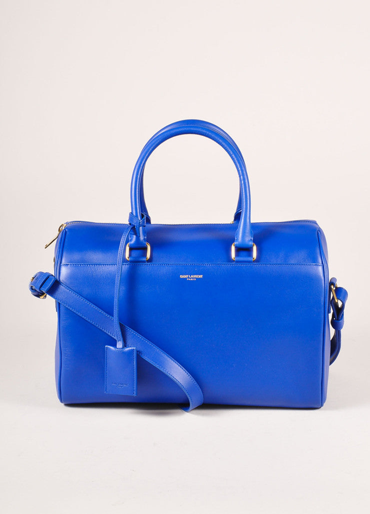 "Saint Laurent New With Tags Royal Blue Leather ""Classic Duffle 6"" Bag Frontview"