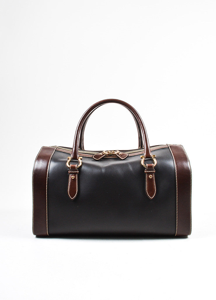 Black and Brown Salvatore Ferragamo Bicolor Leather Horseshoe Detail Duffle Bag Frontview