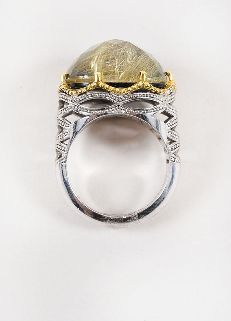 Tacori Sterling Silver, 18k Gold, Rutilated Quartz, and Black Onyx Ring Topview
