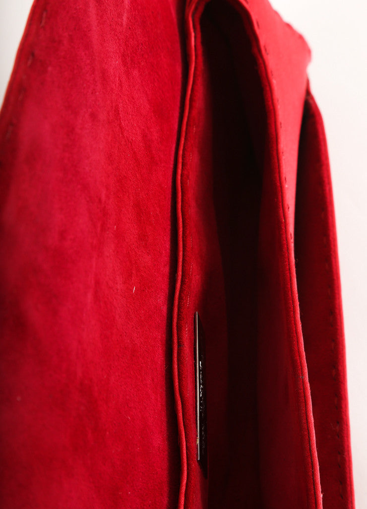 "VBH Red Stitched Satin ""Manila"" Long Clutch Bag Interior"