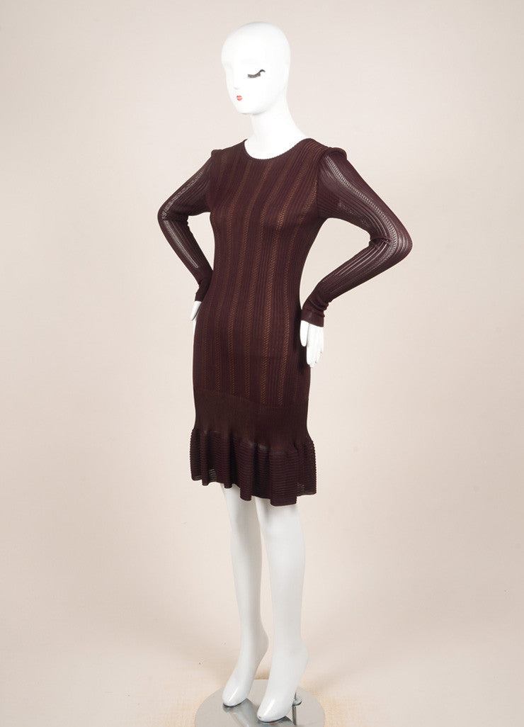 Alaia Burgundy Knit Long Sleeve Stretch Flounce Dress Sideview