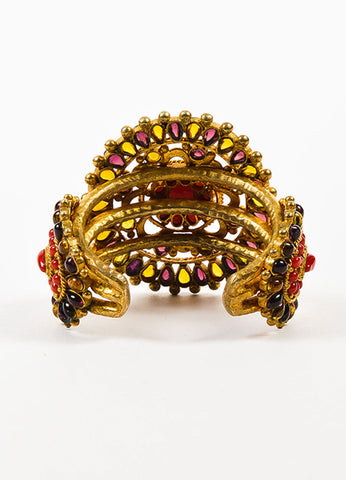 Chanel Gold Toned, Red, and Purple Gripoix Glass Medallion Cuff Bracelet Backview