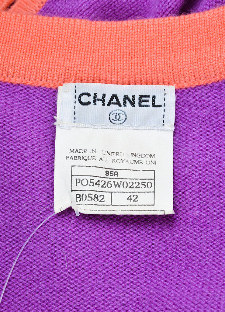 Chanel Purple and Coral Cashmere Two Piece Sweater Set Brand