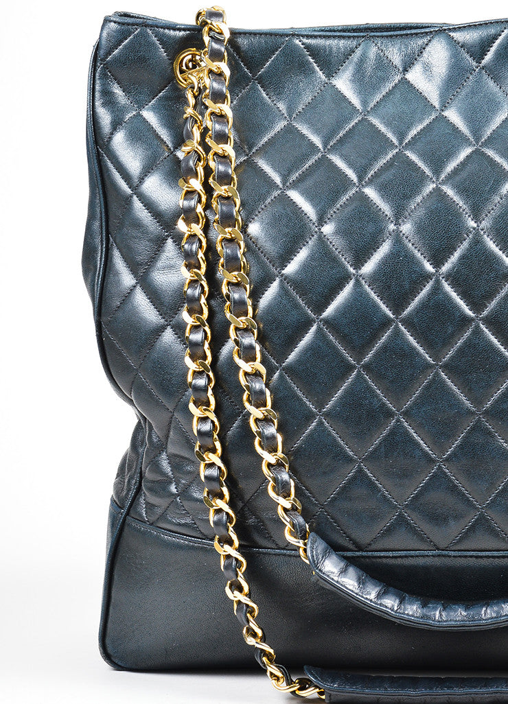 Black Chanel Quilted Lambskin Leather Gold Toned Chain Large Tote Bag
