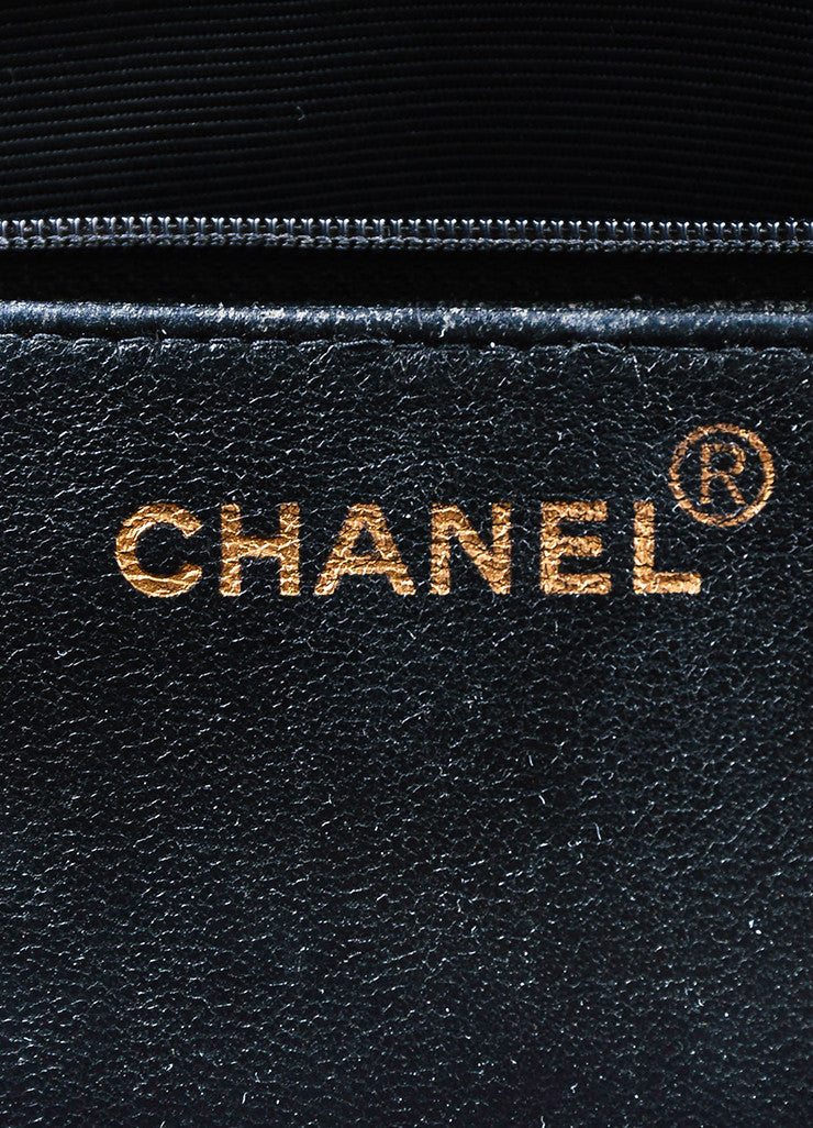 "Black Chanel Quilted Patent Leather ""Diana"" Shoulder Bag Detail 5"