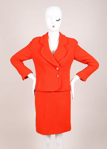 Chanel Orange Boucle Skirt Suit Frontview