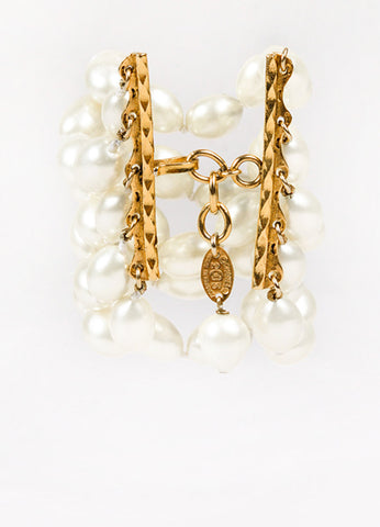 Chanel Gold Toned Cream Faux Pearl Embellished Multi Strand Bracelet Back