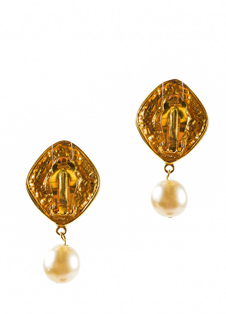Gold Toned and Green Chanel Poured Glass Faux Pearl Drop Earrings Backview
