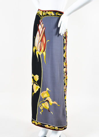 Emilio Pucci Black and Grey Silk Rose Print Column Maxi Skirt Sideview