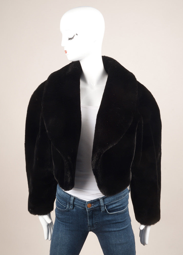 Lolita Lempicka Black Faux Fur Cropped Jacket Frontview