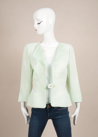 Thierry Mugler Mint Green Structured Long Sleeve Jacket Frontview