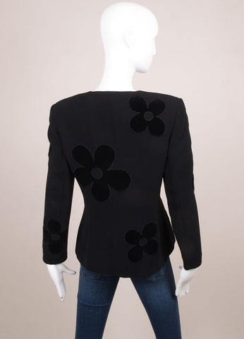 Valentino Black Velour Flower Detail Long Sleeve Blazer Jacket Backview