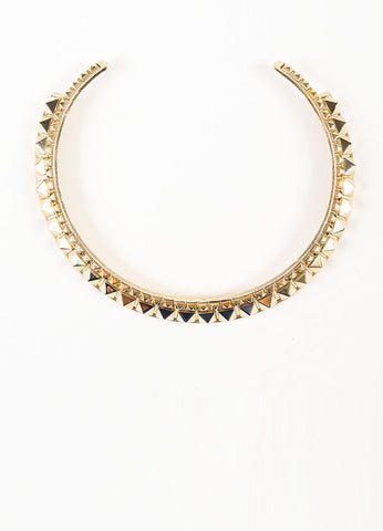 "Gold Toned Valentino Metal Pyramid ""Rockstud"" Collar Necklace Frontview"