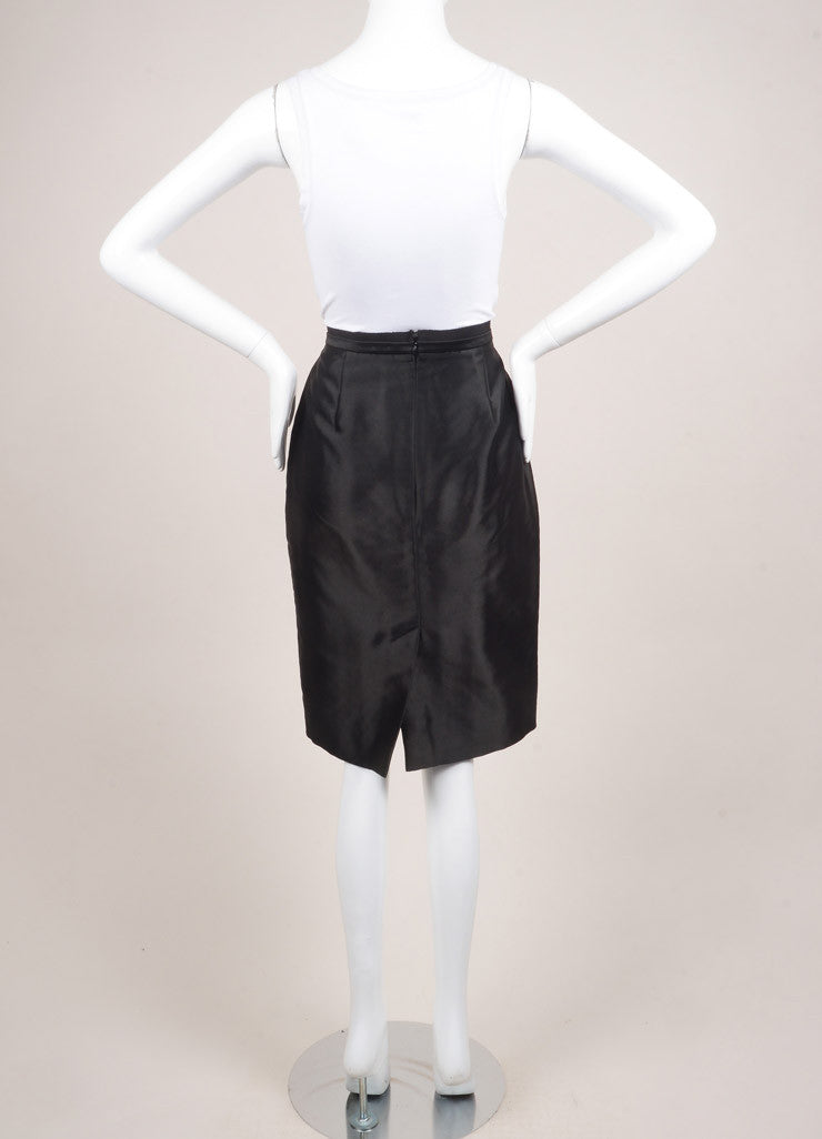 Valentino New With Tags Black Dot Stitch Wool and Silk Blend Pencil Skirt Backview