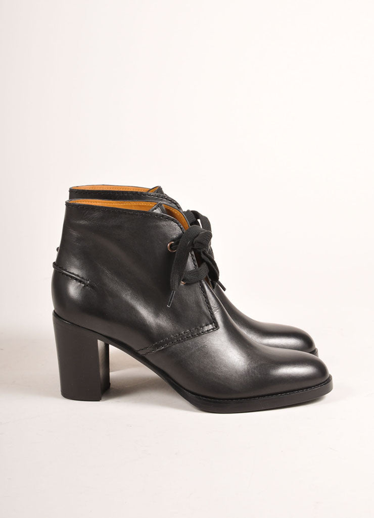 Veronique Branquinho New In Box Black Leather Lace Up Ankle Booties Sideview