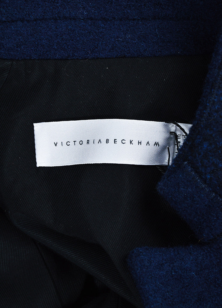 Navy Blue Victoria Beckham Wool Double Breasted Coat Brand