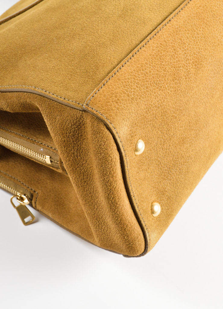 "Yves Saint Laurent Brown Pebbled Suede Leather ""Sac 32"" Tote Bag Detail"