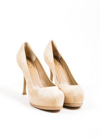 "Beige Suede YSL Yves Saint Laurent ""Tribtoo 80"" Pumps Front"