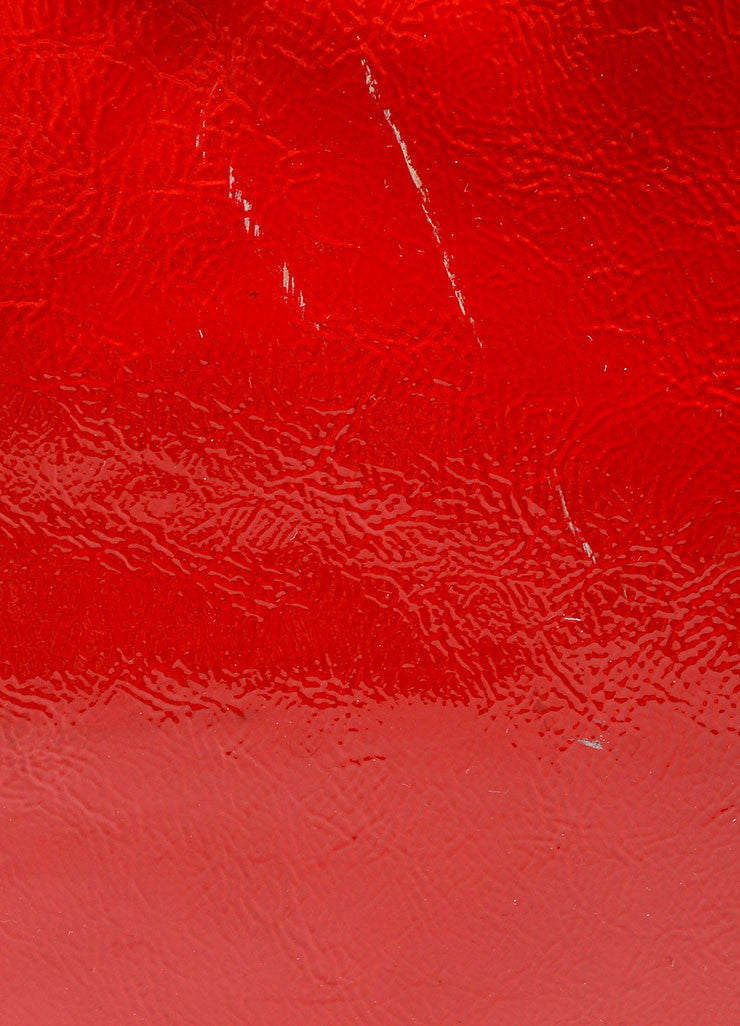 "Red 	 Yves Saint Laurent Patent Leather ""Tribute"" Tote Bag Detail 2"